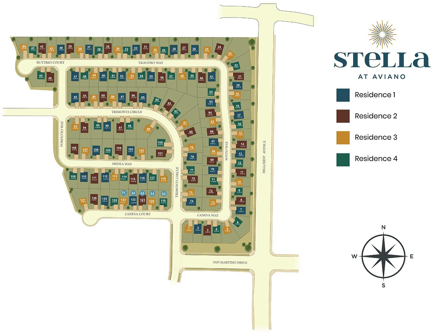 Stella at Aviano Site Map. Stella at Aviano New Homes in Antioch, CA