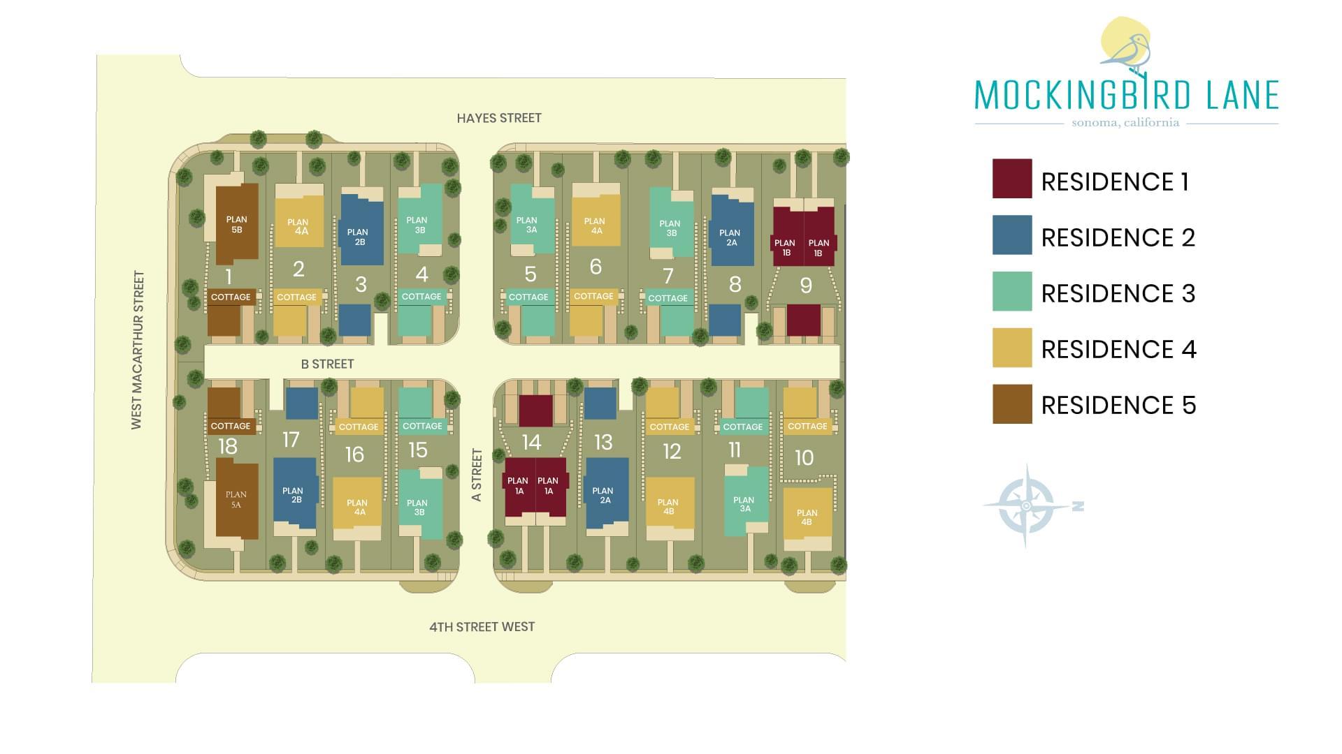 Mockingbird Lane Site Map. Mockingbird Lane New Homes in Sonoma, CA